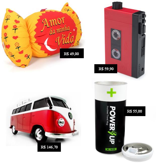 Almofado Serenata de amor, cantil formato walkman, rádio formato kombi, copo térmico formato pilha