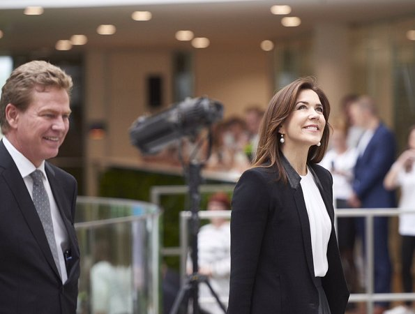Crown Princess Mary wore Designers Remix Pleated Chiffon Skirt and Helmut Lang Leather Trimmed Wool Blend Crepe Blazer