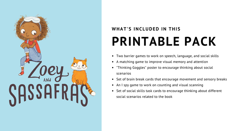 Free printable pack of games for kids based on the book series Zoey & Sassafras from And Next Comes L