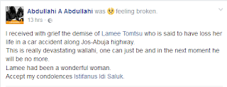 Nigerian woman dies in a fatal accident 3 months after posting poignant status on Facebook