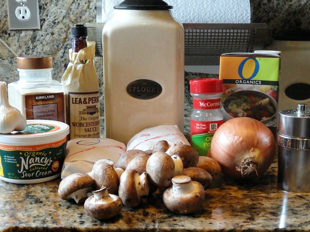 Ingredients for Beef Stroganoff Recipe from scratch. Sirloin steak, onions, mushrooms, garlic, salt, worcestershire sauce, sour cream and egg noodles from Serena Bakes Simply From Scratch.
