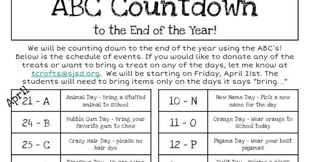 mrs  crofts u0026 39  classroom  abc countdown to the end of the year
