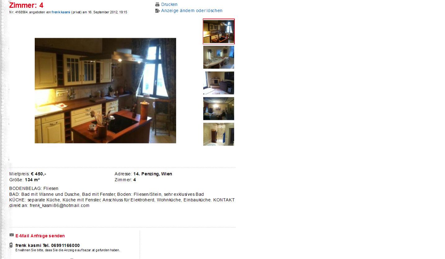 wohnungsbetrug.blogspot.com: Zimmer: 4 Penzing, Wien / Vorkassebetrug