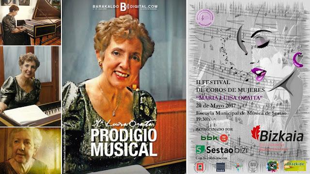 Cartel del festival y portada de Barakaldo Digital dedicados a Marisa Ozaíta