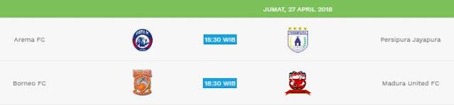 Jadwal Liga 1 Jumat 27 April 2018