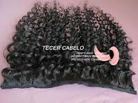 Aplique de cabelo encaracolado castanho escuro 60 cm