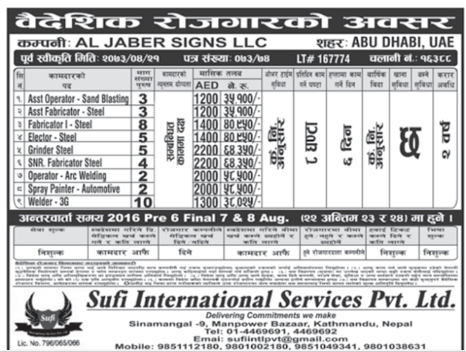 Jobs in Abu Dhabi, UAE for Nepali, Salary Rs 64,350