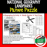 Geography Landmarks in US, Civics Test Prep, Civics Test Review, Civics Study Guide, Civics Interactive Notebook Inserts, Civics Picture Puzzles