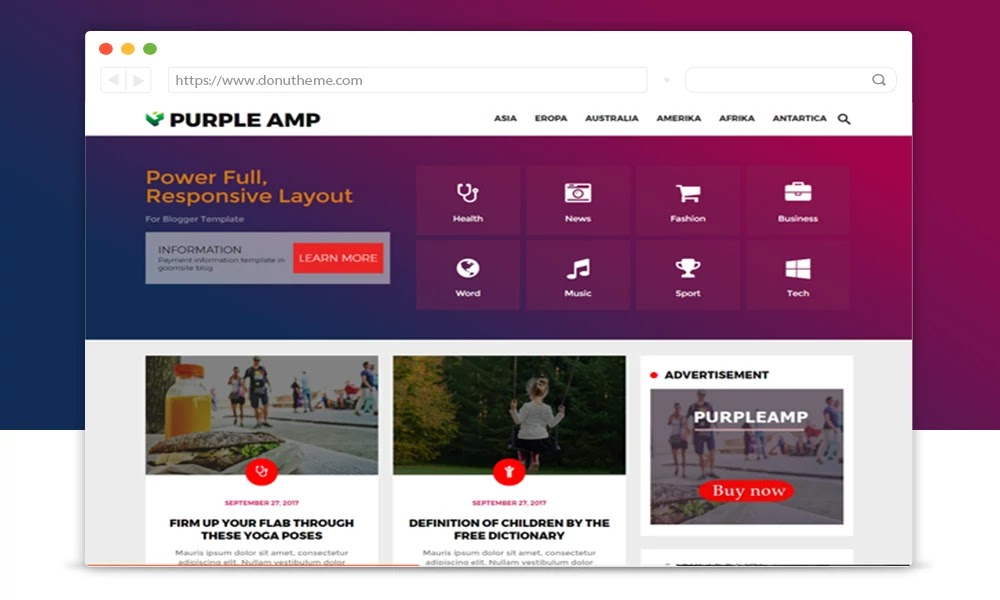 Purple AMP Responsive Blogger Template