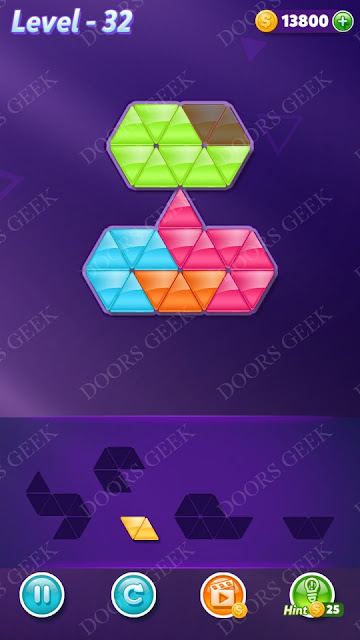 Block! Triangle Puzzle 5 Mania Level 32 Solution, Cheats, Walkthrough for Android, iPhone, iPad and iPod