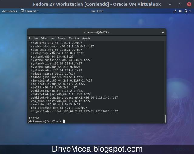 Al finalizar ya tendremos actualizado nuestro Fedora Linux