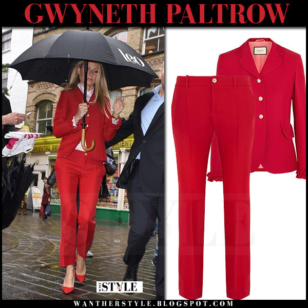 Gwyneth Paltrow in red gucci jacket, red gucci pants and red pumps gianvito rossi what she wore