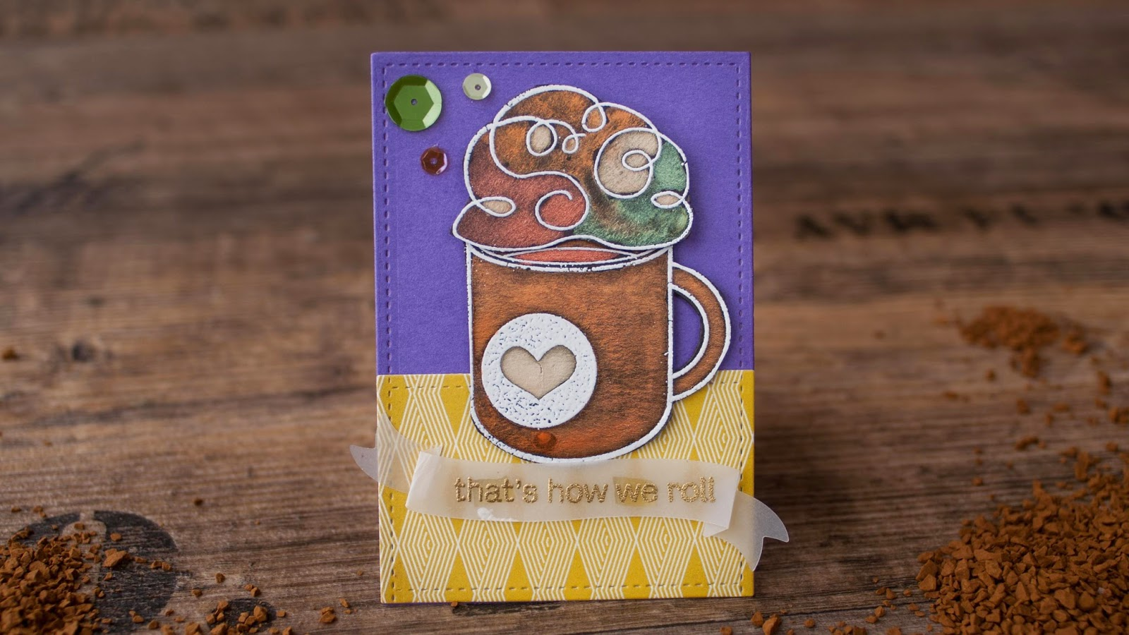 SSS october card kit - hot chocolate with perfect pearls invitation - purple background