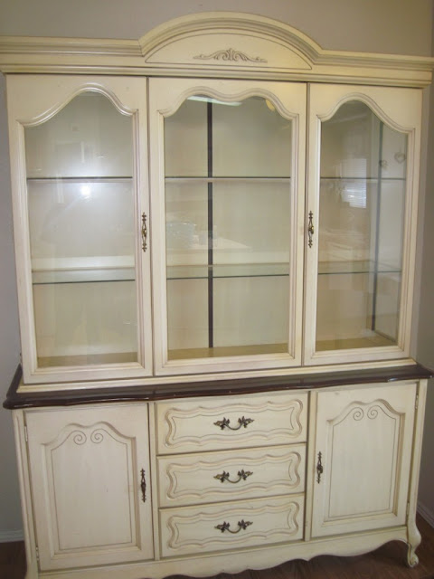 white small china cabinet with drawer