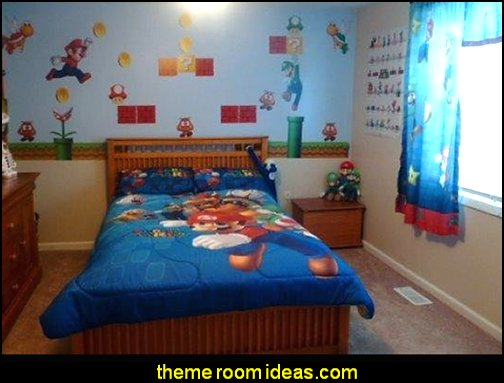 Super Mario Brothers Wall Stickers   Gamer bedroom - Video game room decor - gamer bedroom furniture - gamer wall decal stickers