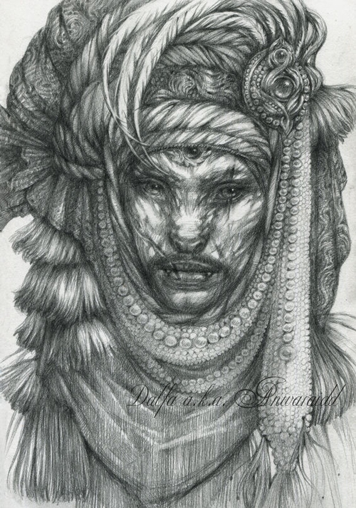 09-Cat-Nomad-Groom-Olga-Anwaraidd-Drawings-Fantasy-Portraits-Imaginary-Characters-www-designstack-co