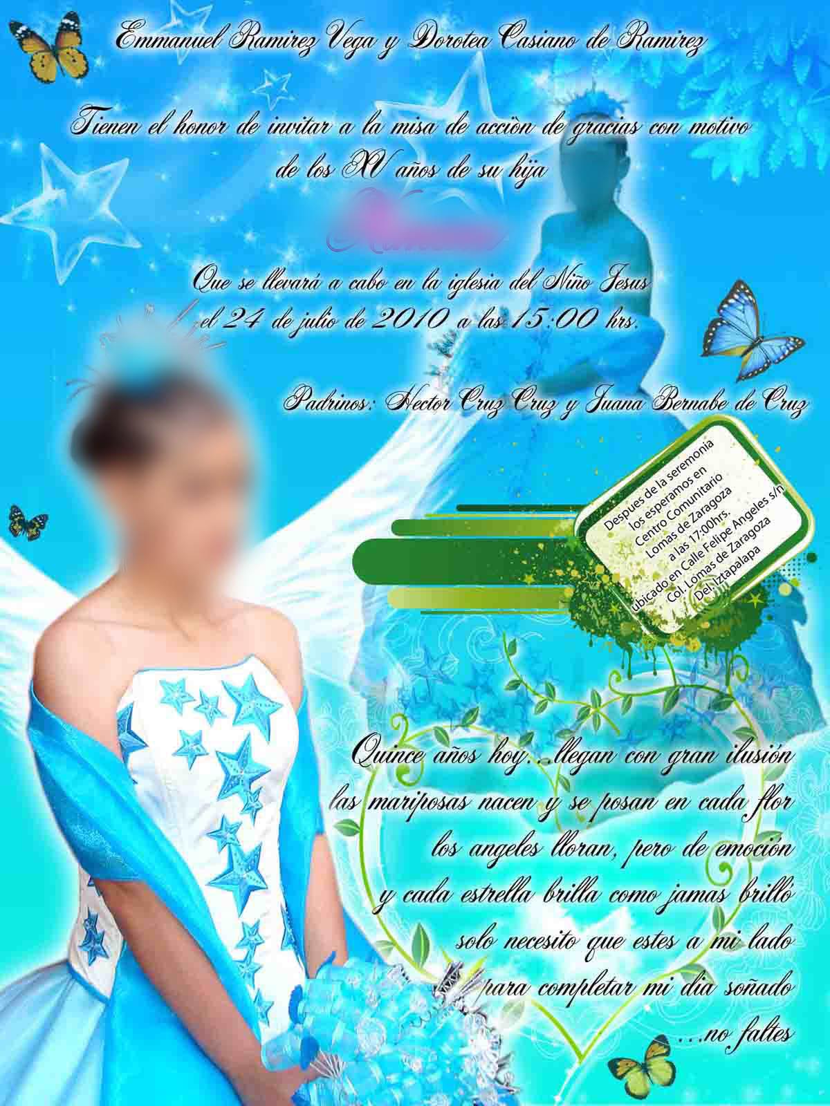 El blog del diseñador. Plantillas para photoshop: Invitación para XV ...