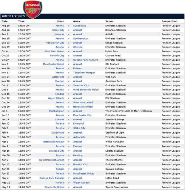 Jadwal Lengkap Liga Primer Inggris 2012-2013
