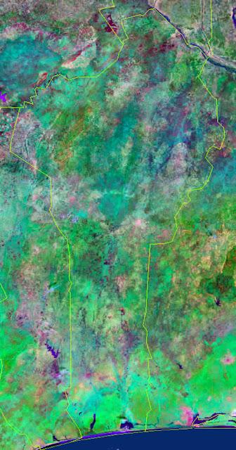 Gambar Peta Negara Benin tampak dari satelit