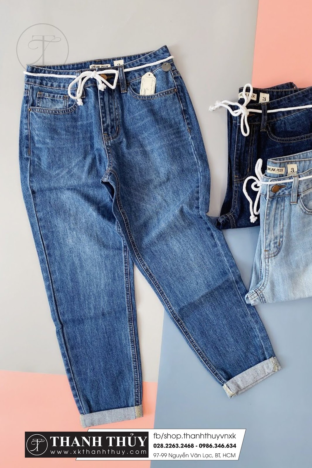 Quần Jean boy kèm dây belt trắng
