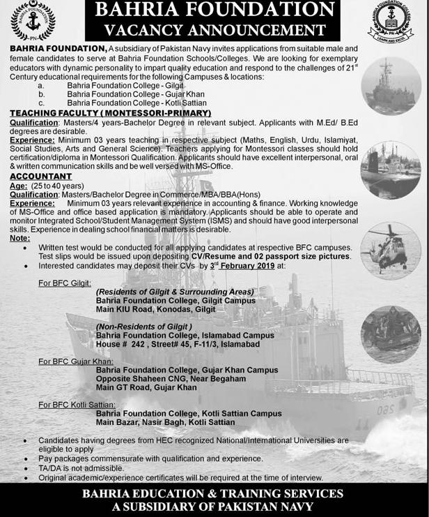 Govt jobs in pakistan for teachers