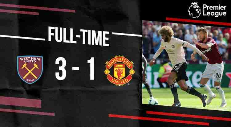 Hasil West Ham vs Manchester United Skor Akhir 3-1