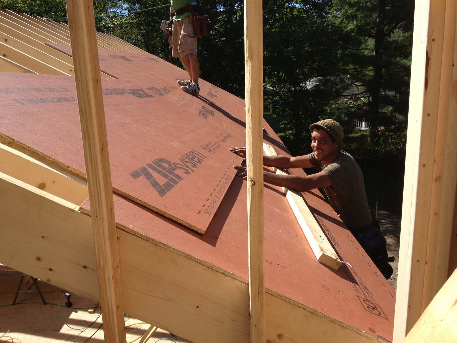 Pretty Good Lake House Roof Sheathing Starts