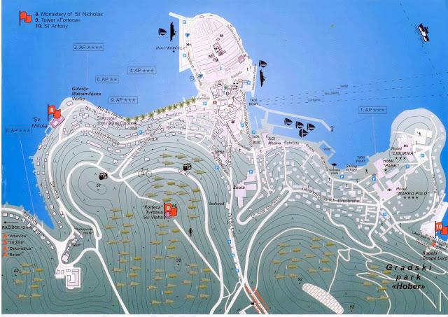 Mapa da cidade de Korcula – Croácia