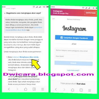 cara menghapus akun instagram tanpa login