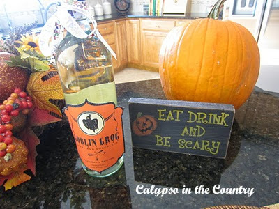 Halloween wine and sign