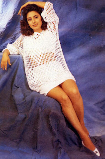 Juhi Chawla Legs Exposing In Hot White Dress