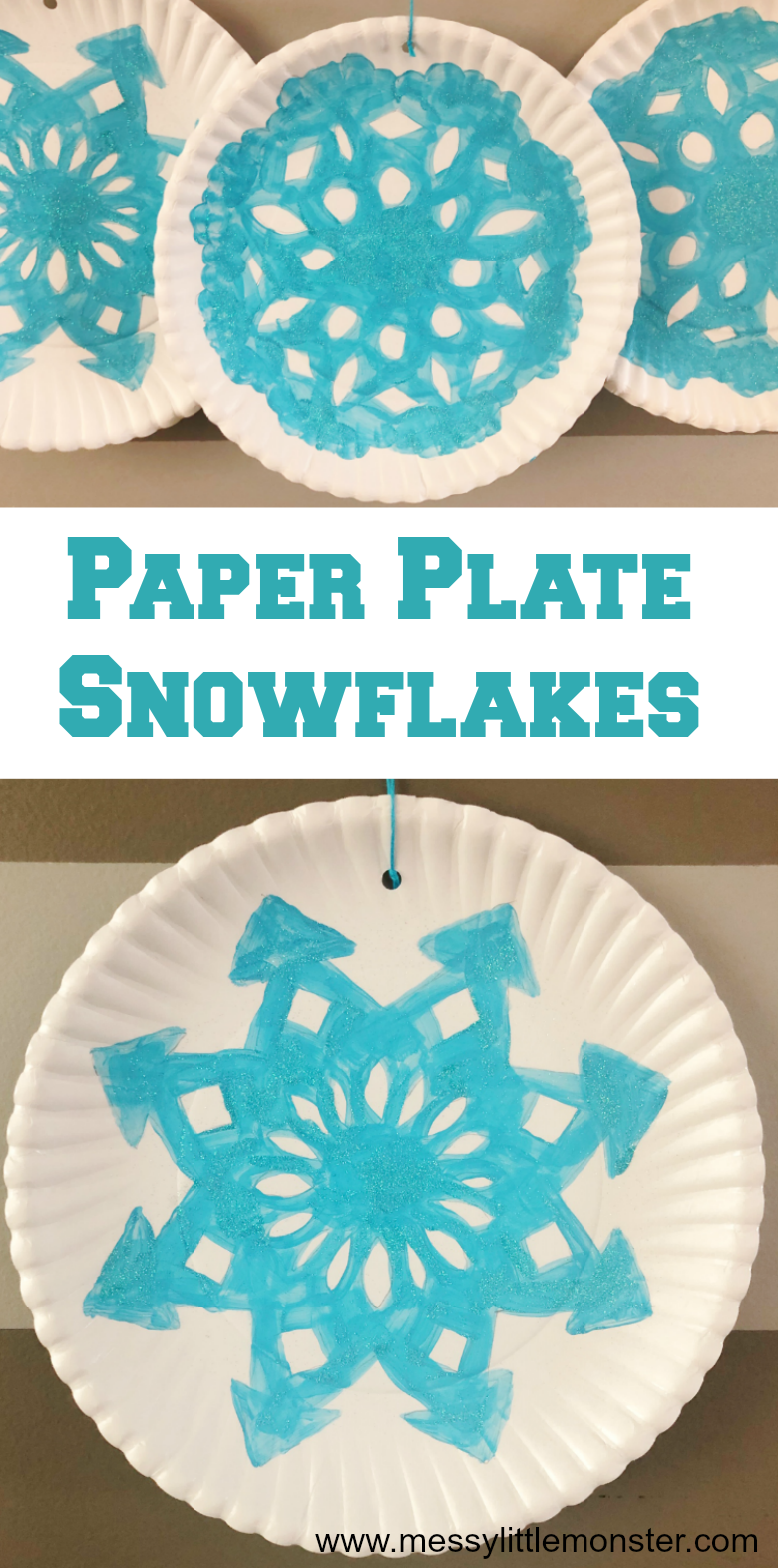 Paper plate snowflake craft for kids. Easy snowflake art for preschoolers to make as a fun winter activity.