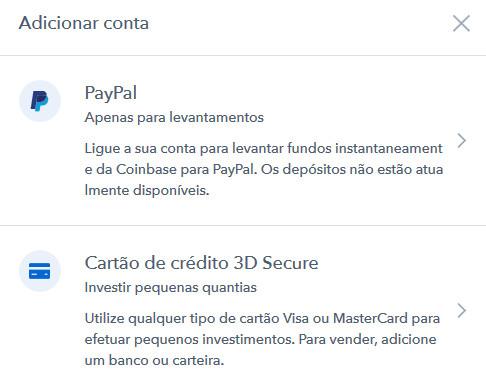 paypal coinbase associar dinheiro levantar bitcoin criptomoeda wallet euro