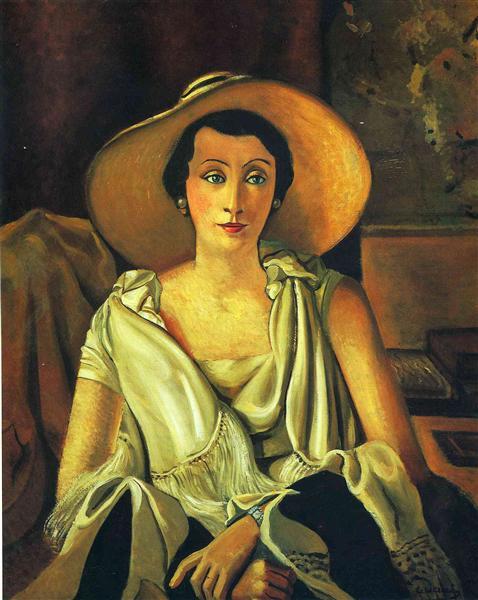Андре Дерен André Derain Портрет мадам Поль Гийома в большой шляпе