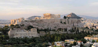 Acropolis of Athens is an ancient citadel on an rocky outcrop above the city of Athens