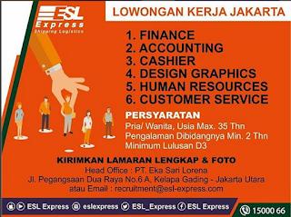 Info Lowongan Kerja ESL Express Jakarta 2018 khususnya bagi anda seorang laki laki dan perempuan dengan ijazah minimal D3 2018 Jakarta Bekasi Loker Terbaru finance accounting cashier design graphics human resources hr customer service