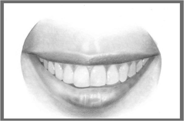 Karakalem ile ağız ve dişler nasıl çizilir adım 4
