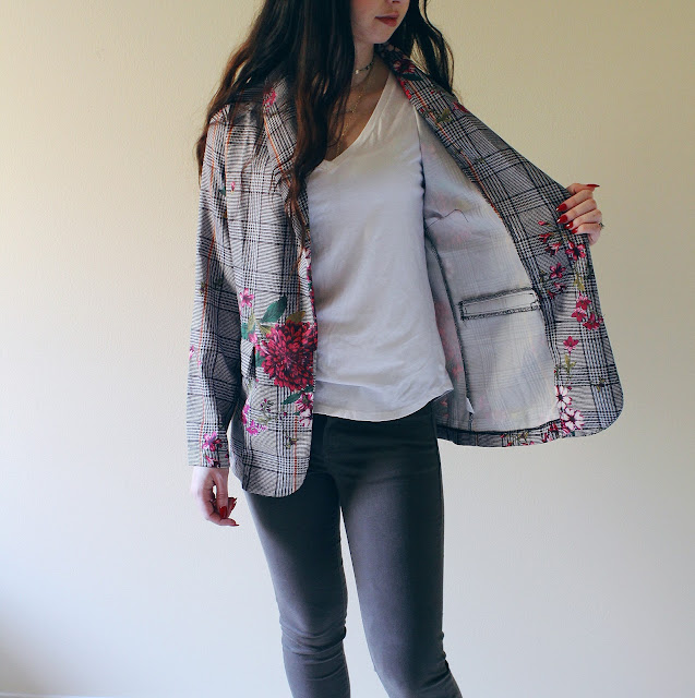 floral print plaid blazer from SHEIN