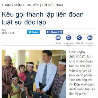 """Đồng đảng của Võ An Tôn kêu gọi thành lập """" liên đoàn luật sư độc lập"""""""