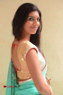 Actress Srilekha Pictures in Green Saree  0027.JPG