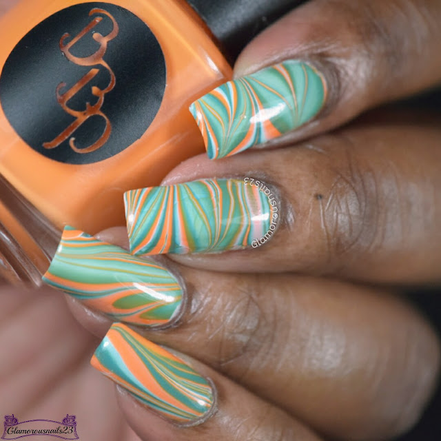 Watermarble Wedensdays: White, Orange & Jade