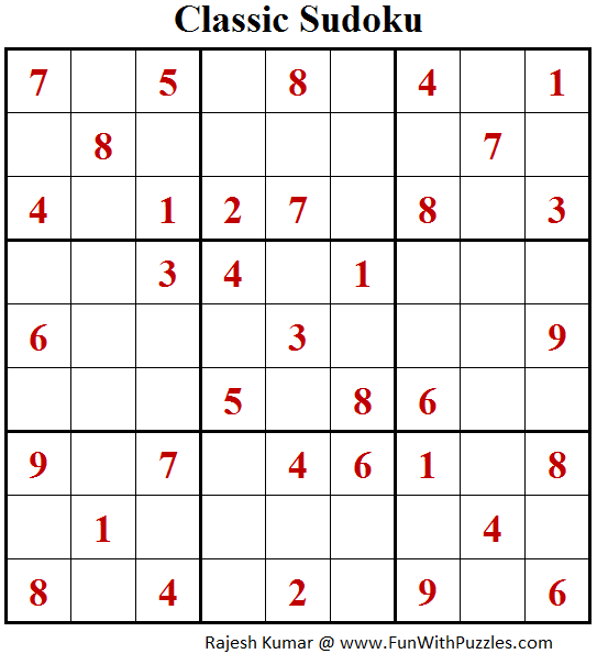 Classic Sudoku Puzzle (Fun With Sudoku #203)