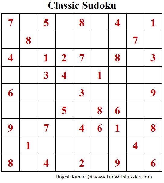 Classic Sudoku Puzzle (Fun With Sudoku #203)