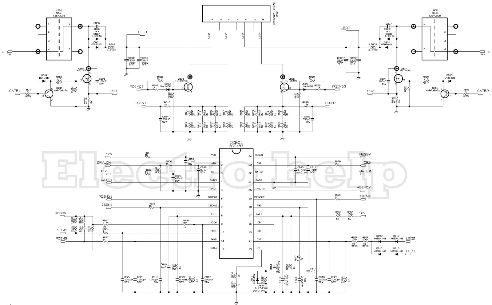 LG POWER SUPPLY  EAY62810801  SCHEMATIC  LED LCD TV