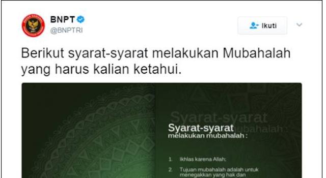 Wah! BNPT Sosialisasikan Syarat-syarat Mubahalah, Ada Apa?