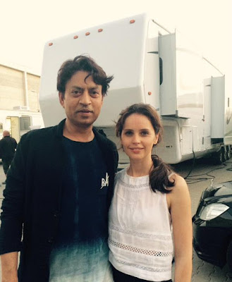 Irrfan Khan with Felicity Jones on the sets of INFERNO