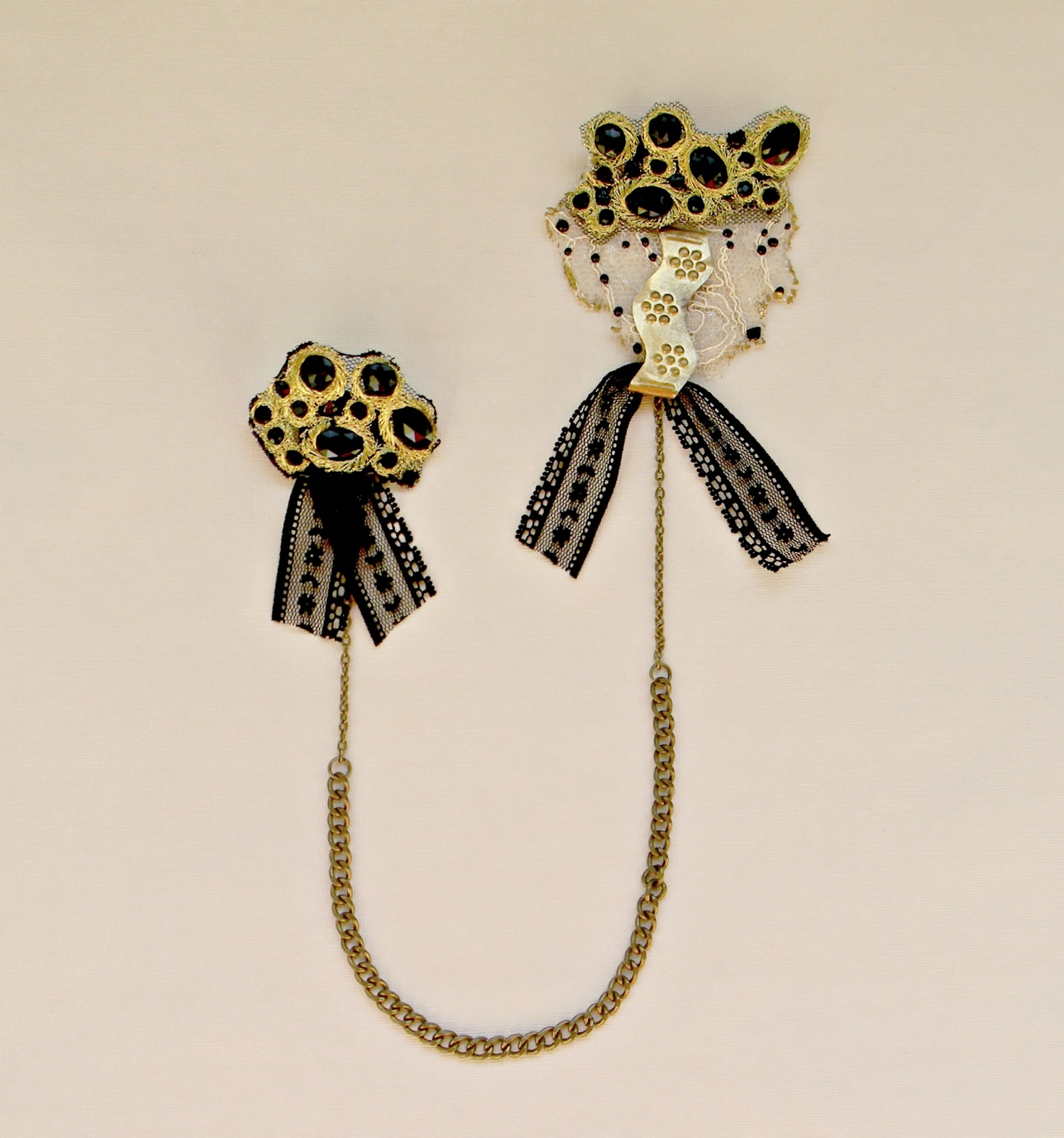 """Dark Baroque"" Double Brooch"