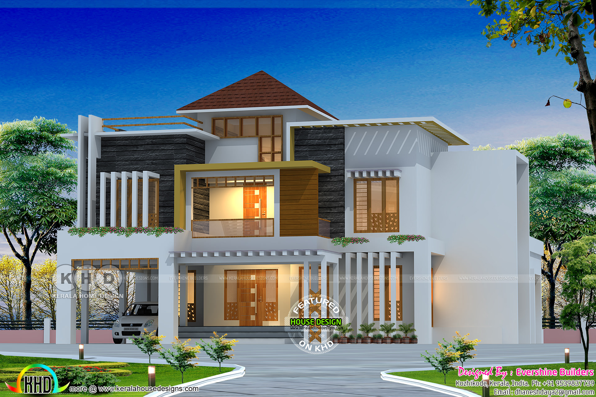 Mixed roof style ultra modern house in kerala kerala for Modern house in kerala