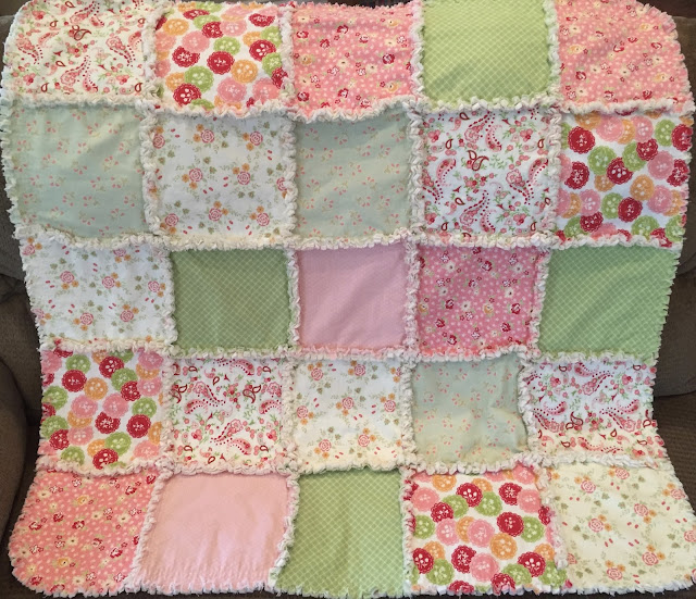 Deerecountry Quilts Green And Pink Baby Girl Rag Quilt