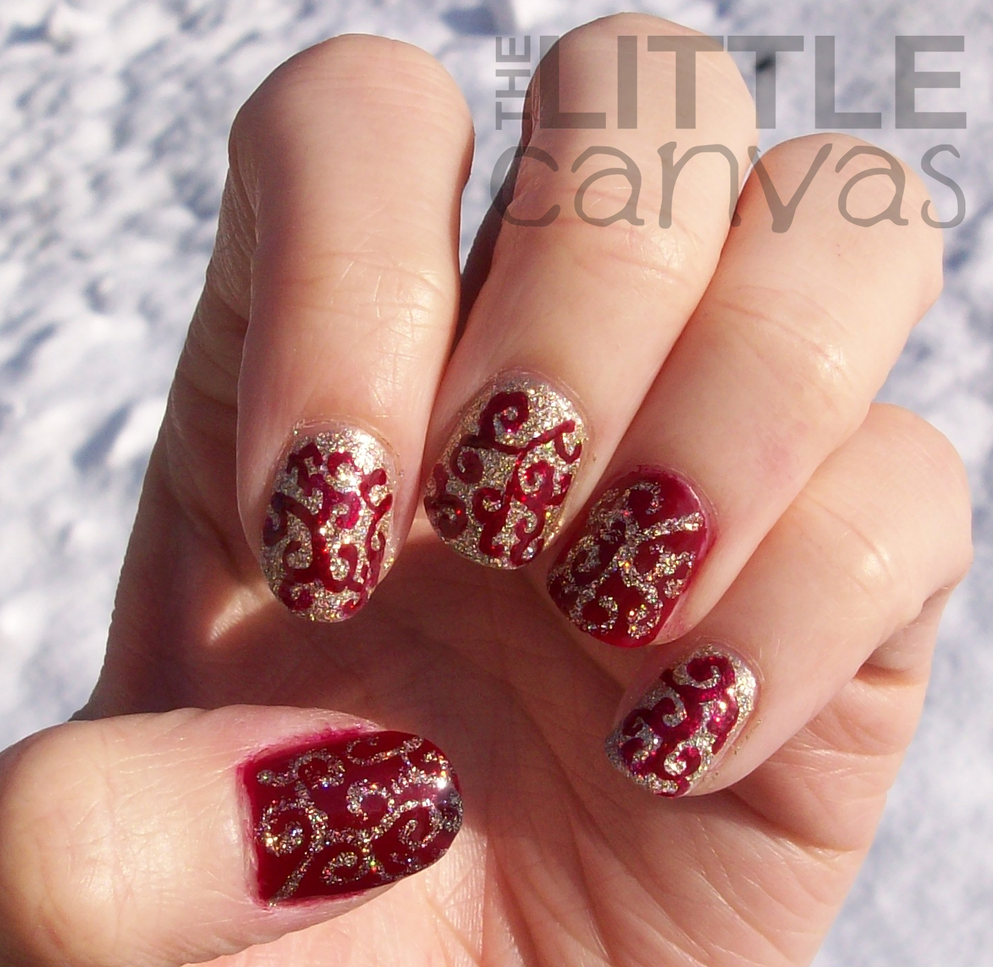Merry Christmas Swirl Y Nail Art The Little Canvas